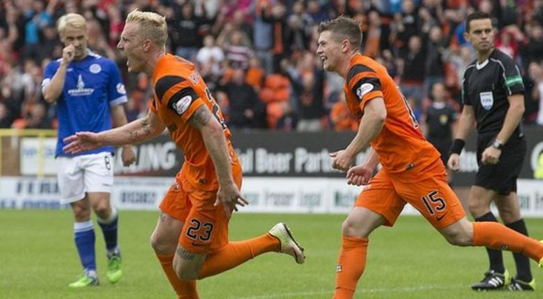 Dundee United's Nick van der Velden reels away after a stunning equaliser against Queen of the South at Tannadice on Saturday. But Sportscene viewers did not see the goal — and fans have had to rely on grainy online footage to see the goal again.