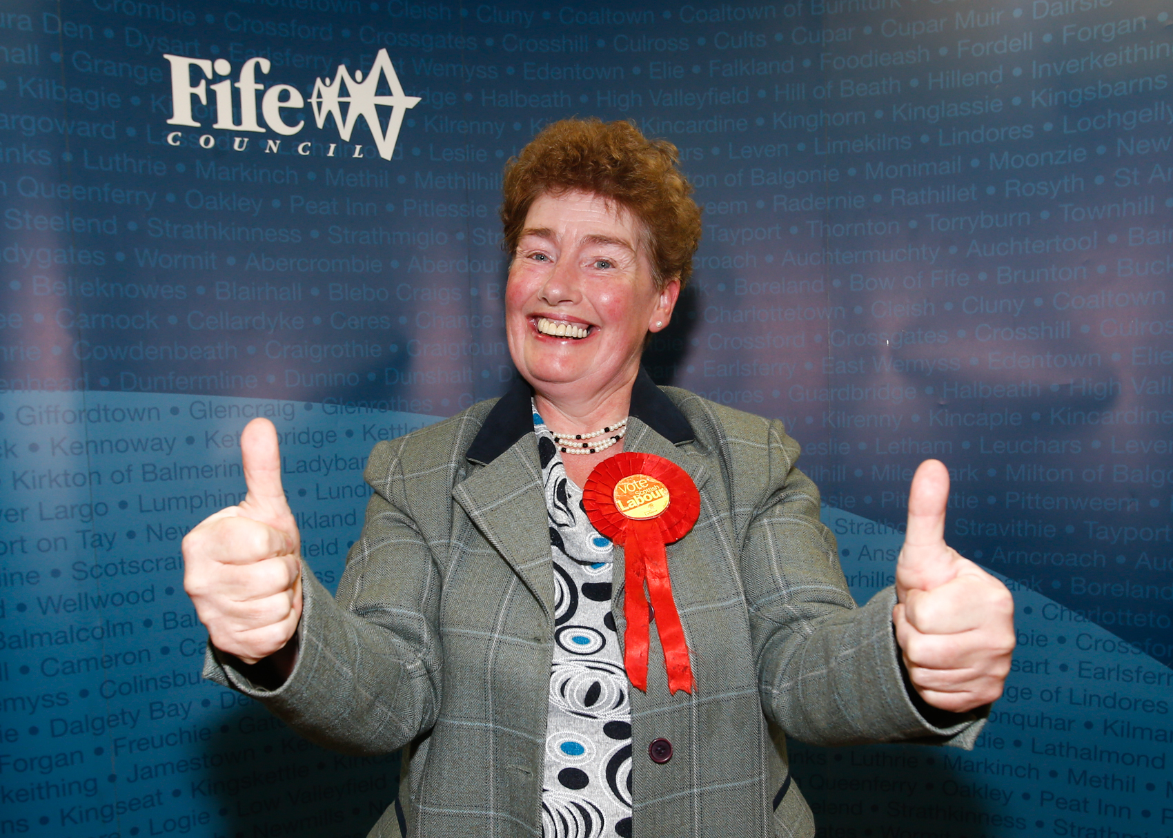 Mary Lockhart celebrates her council election win