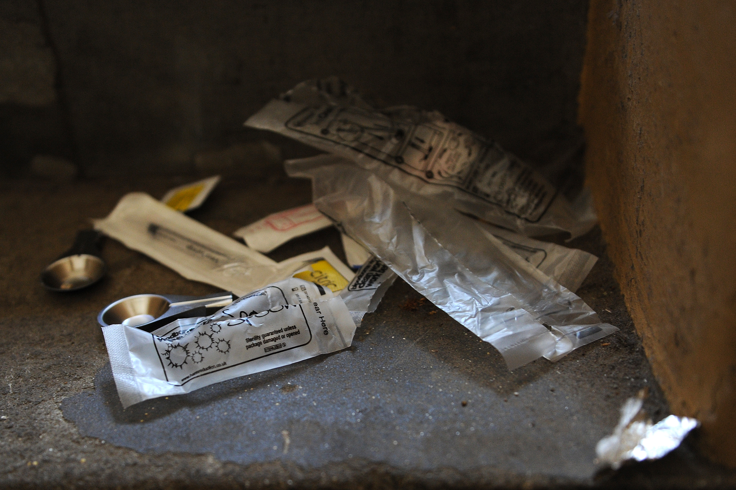 Drug equipment abandoned by a heroin addict in a Dundee stairwell.