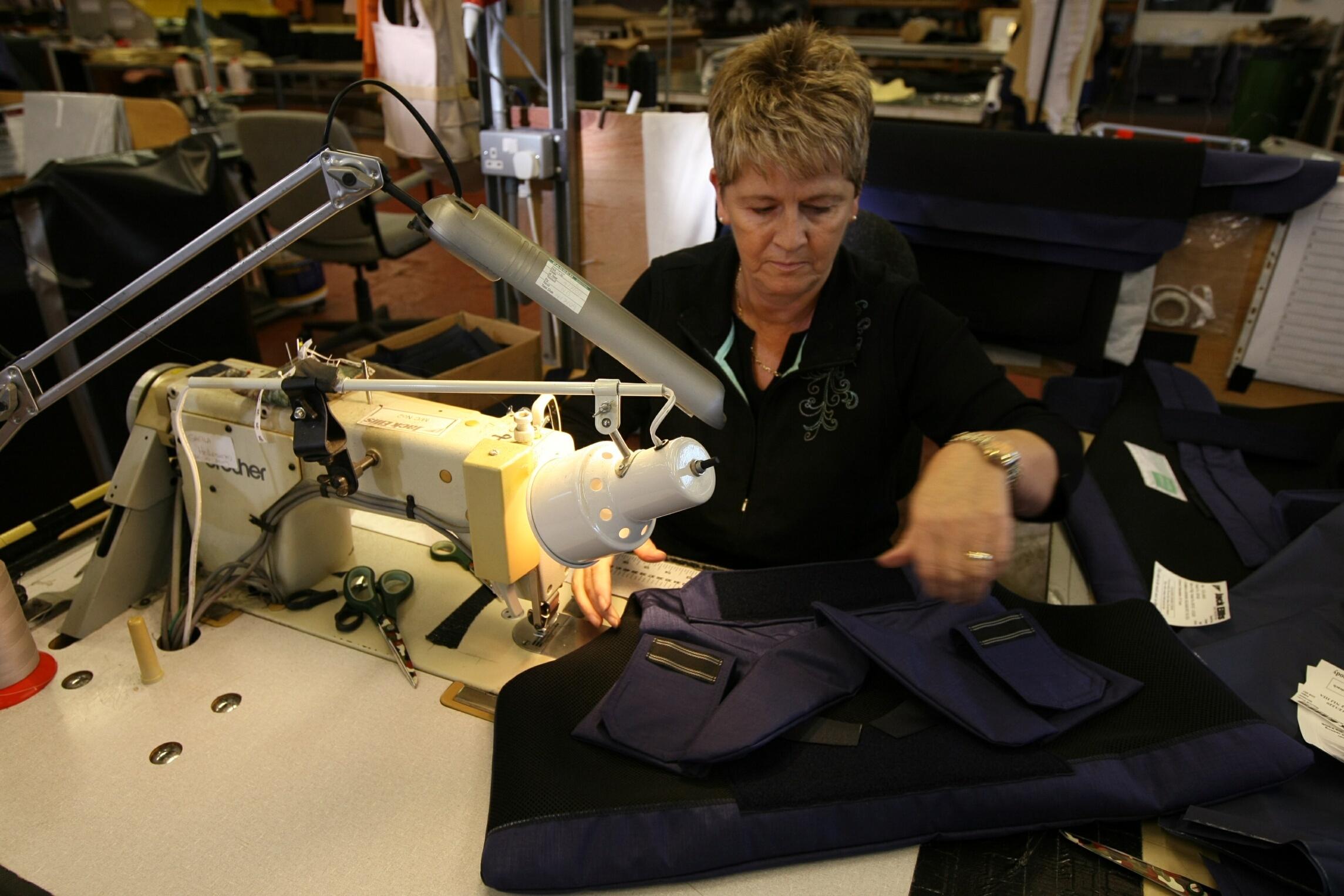 Making body protection vests at the Jack Ellis facility in Kirriemuir