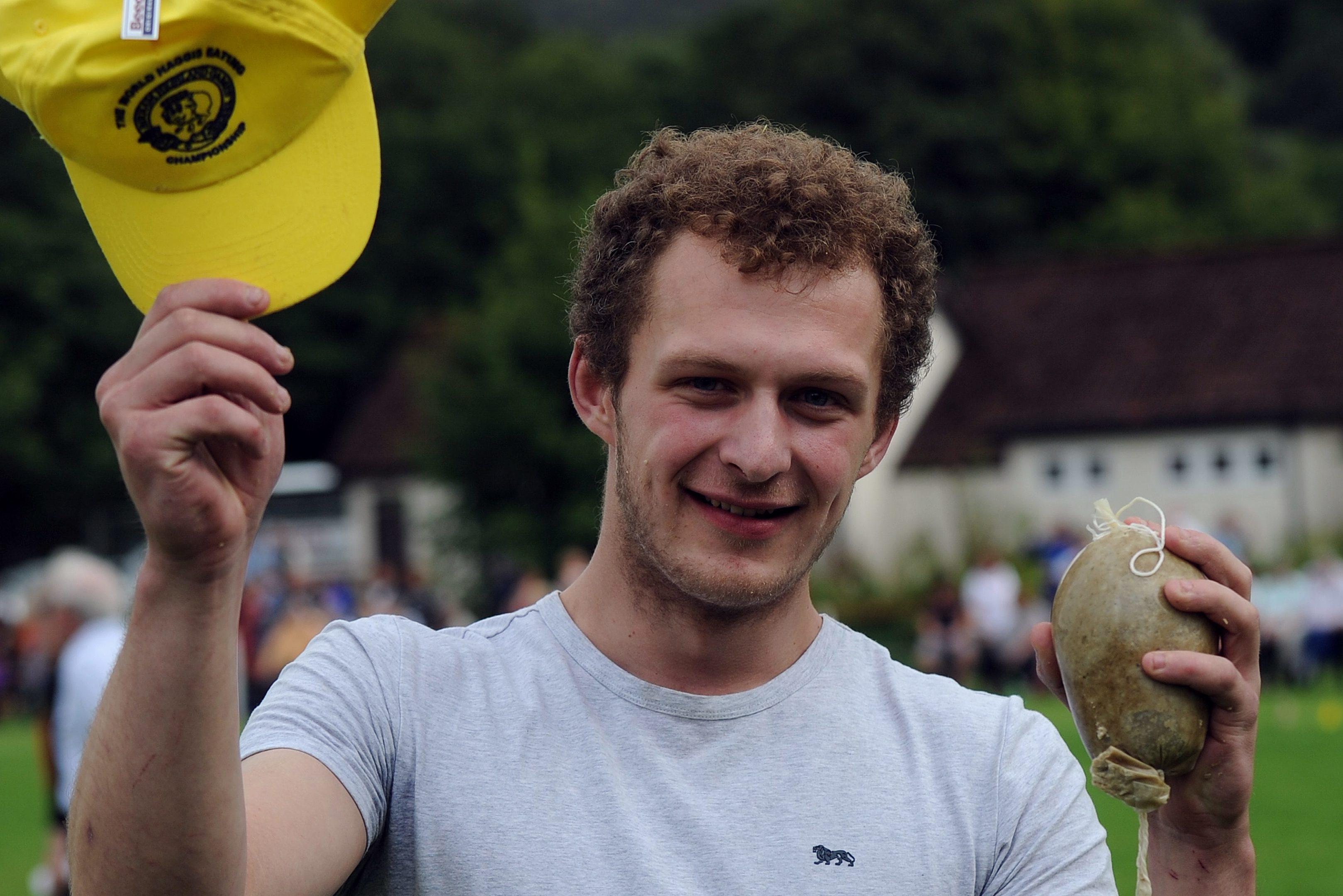 Winner of the Haggis Eating Championship, Alastair Ross, Birnam.