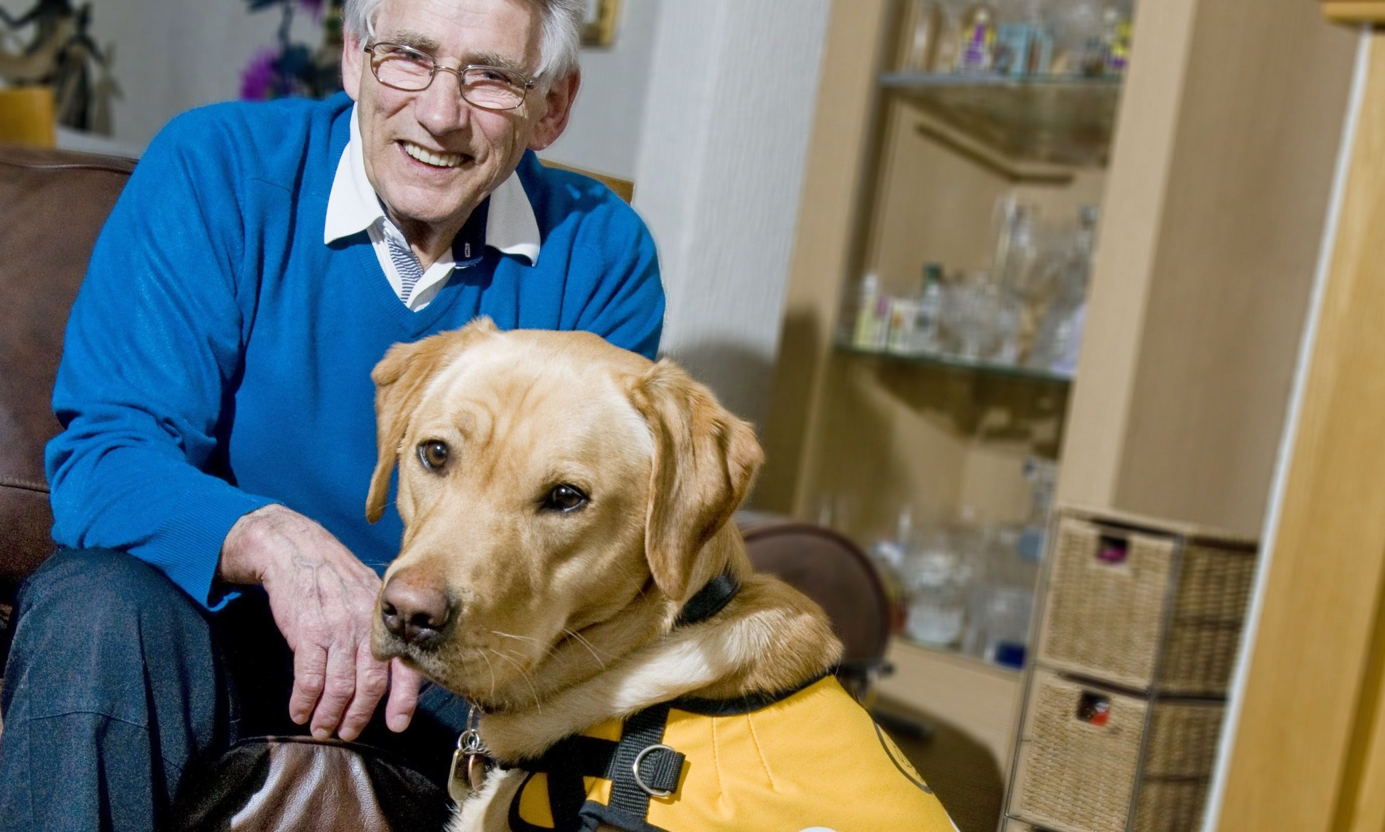 Ken Will with his dementia dog Kaspa.