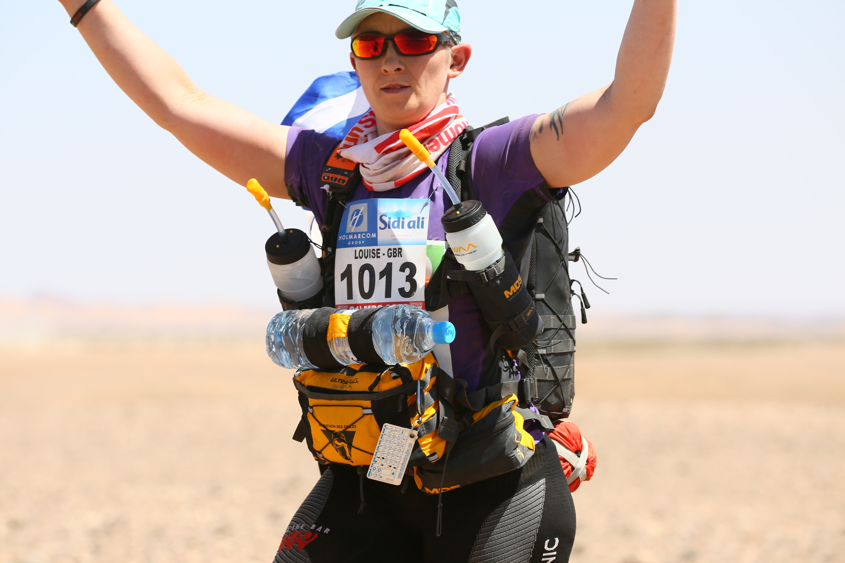 Louise Johnstone running the Marathon Des Sables, a race in the Sahara Desert earlier this year.