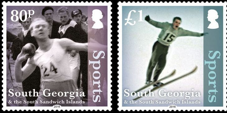 Some of the sporting events, photographed by John and made into commemorative stamps.