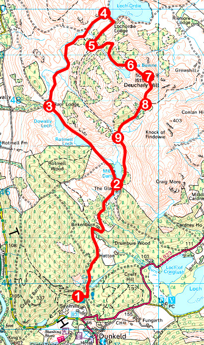 Take a Hike 128 - September 3, 2016 - Deuchary Hill, Dunkeld, Perth & Kinross OS map extract