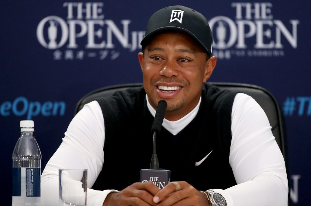 Tiger Woods wearing Nike gear during a press conference at the 2015 Open Championship in St Andrews