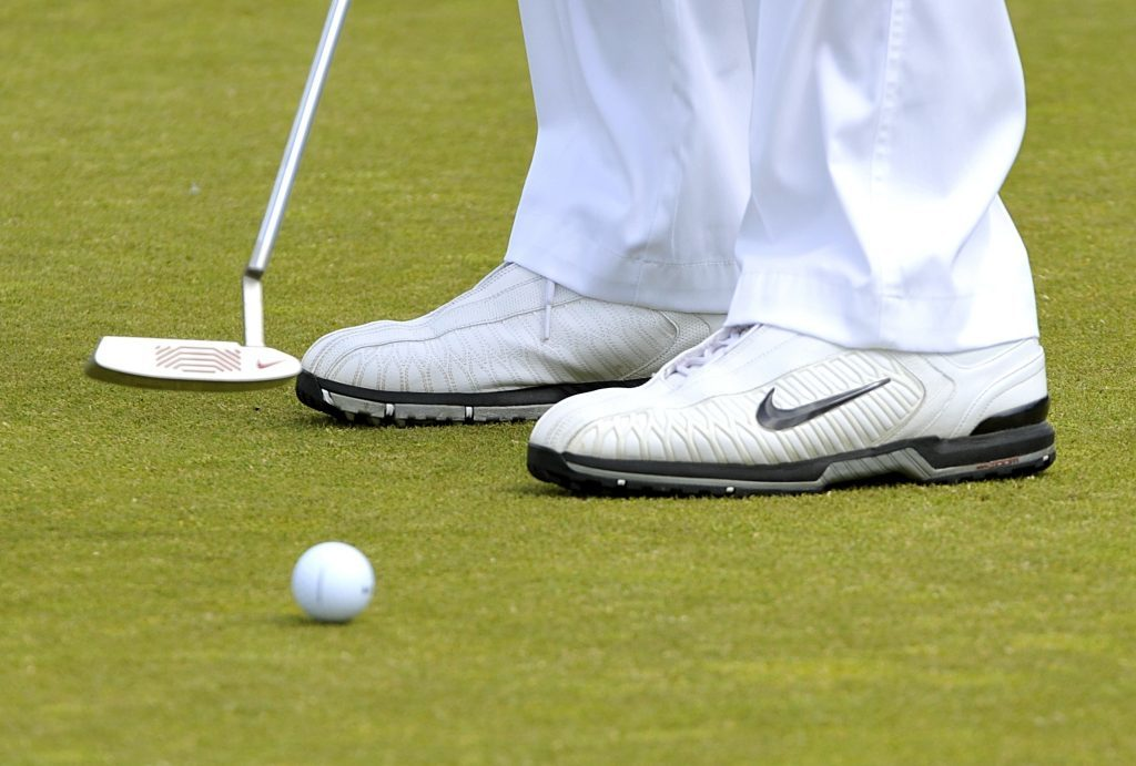 A general view of a Nike putter and golf ball.