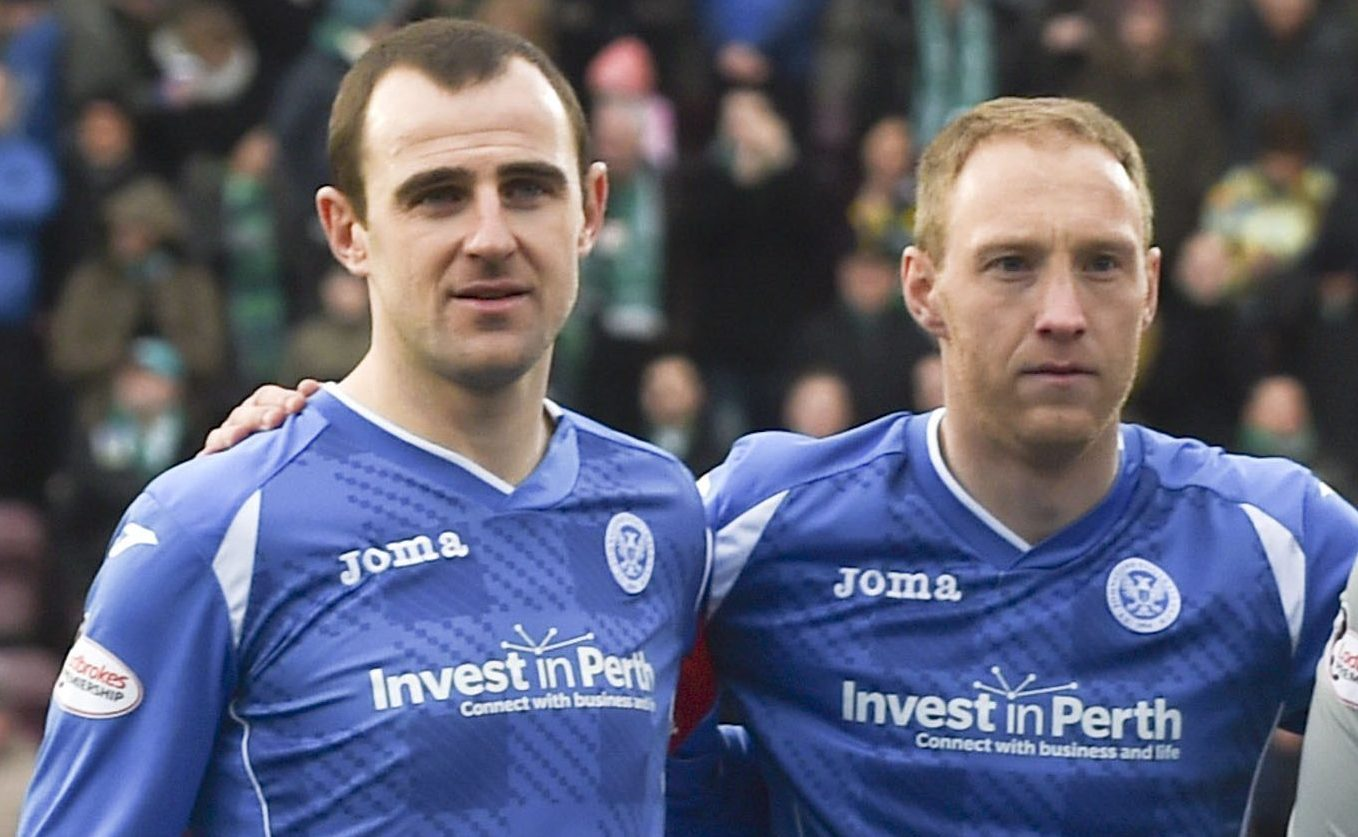 Dave Mackay and Steven Anderson before Mackay's last game against Hibs.