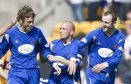 Dave Mackay and Murray Davidson celebrate a goal in their first season at Saints with Jody Morris.