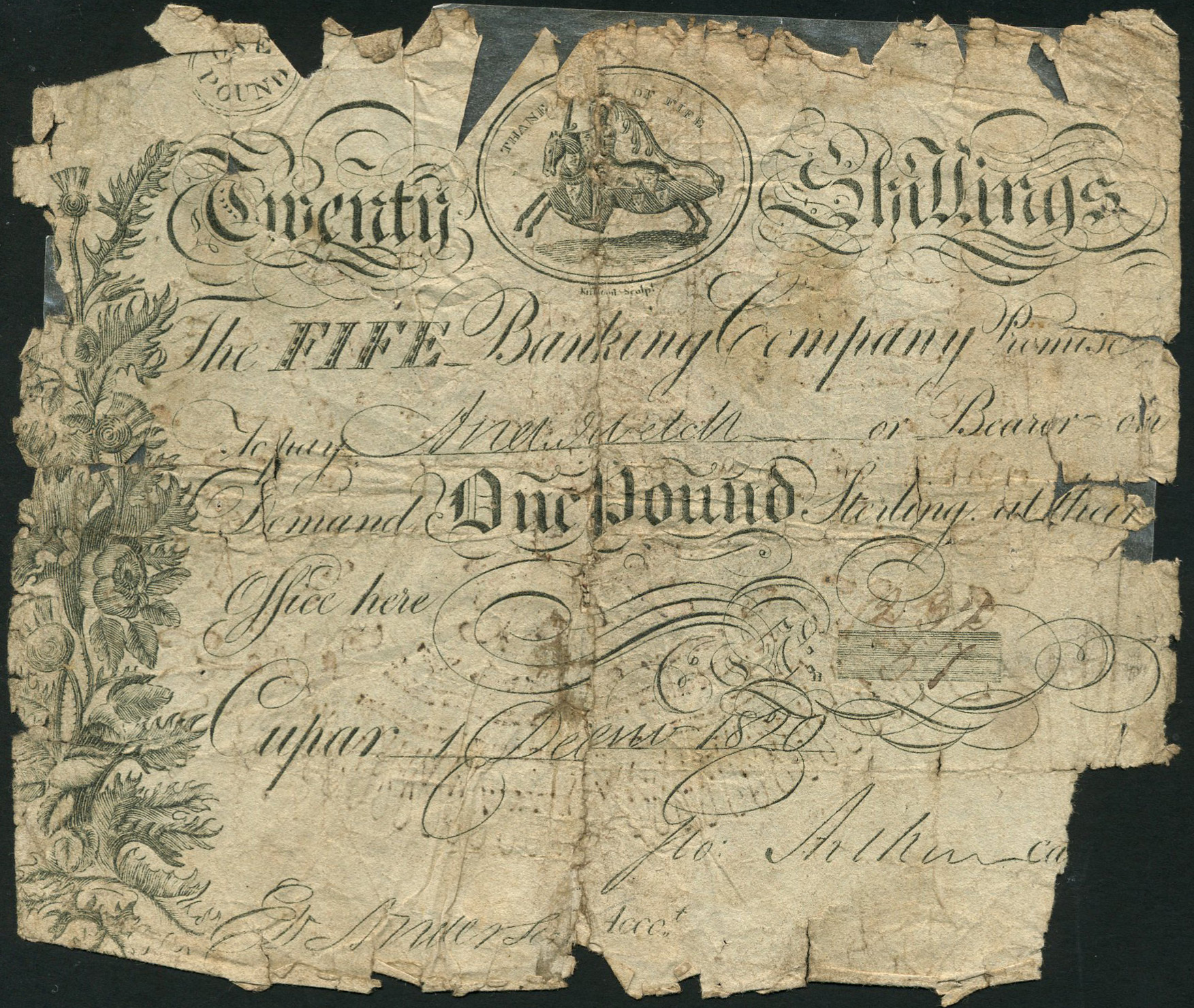 Fife Banking Company one pound note forgery, dated December 1, 1820 and featuring the word 'Cupar' and an image of the Thane of Fife on horseback. Pre-sale estimates are £100-£150