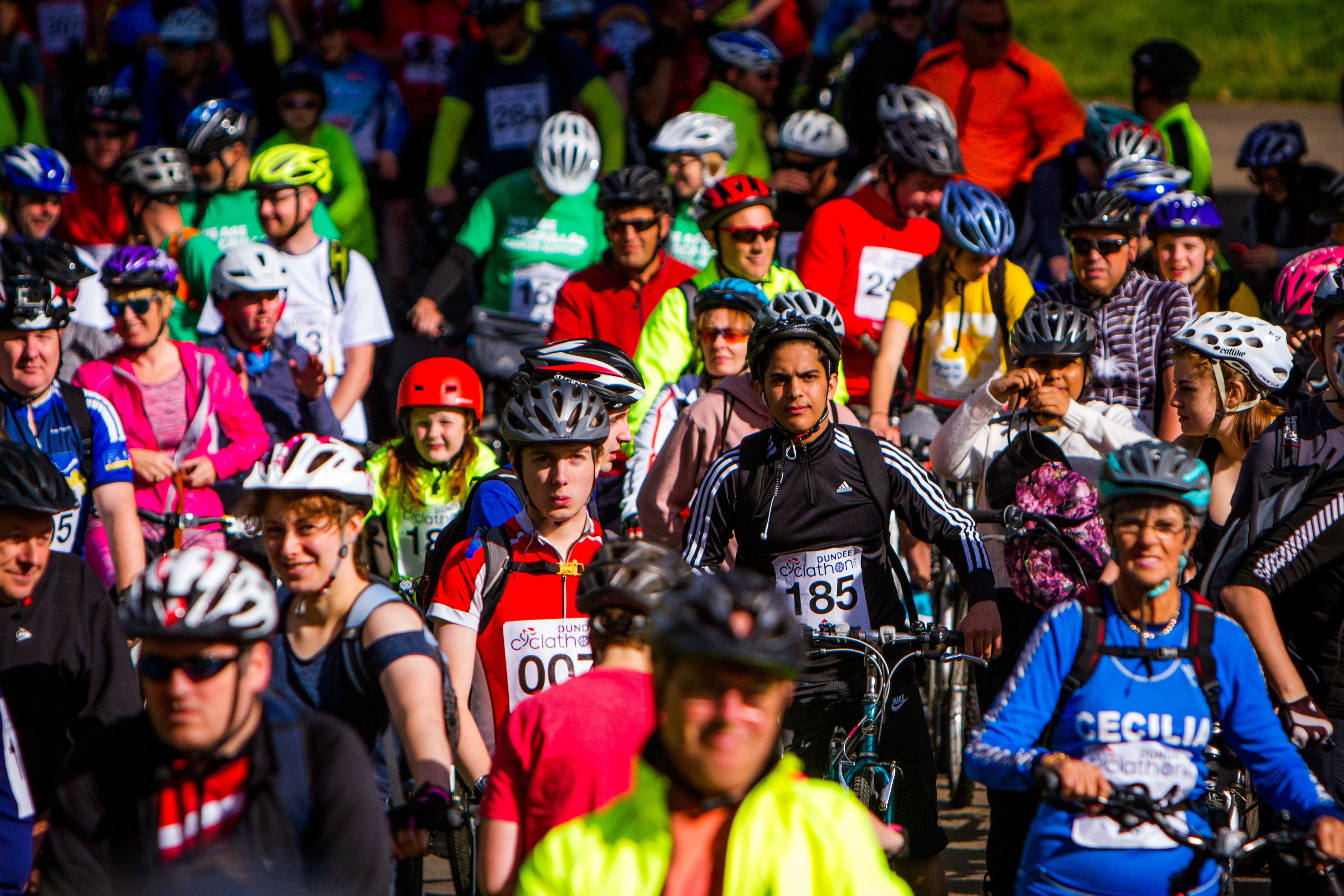 Cyclists prepare to set off at Camperdown Park.
