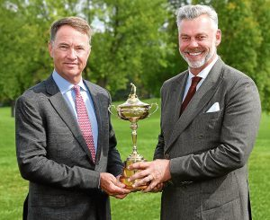 Captains Davis Love III and Darren Clarke with the Ryder Cup at Hazeltine.