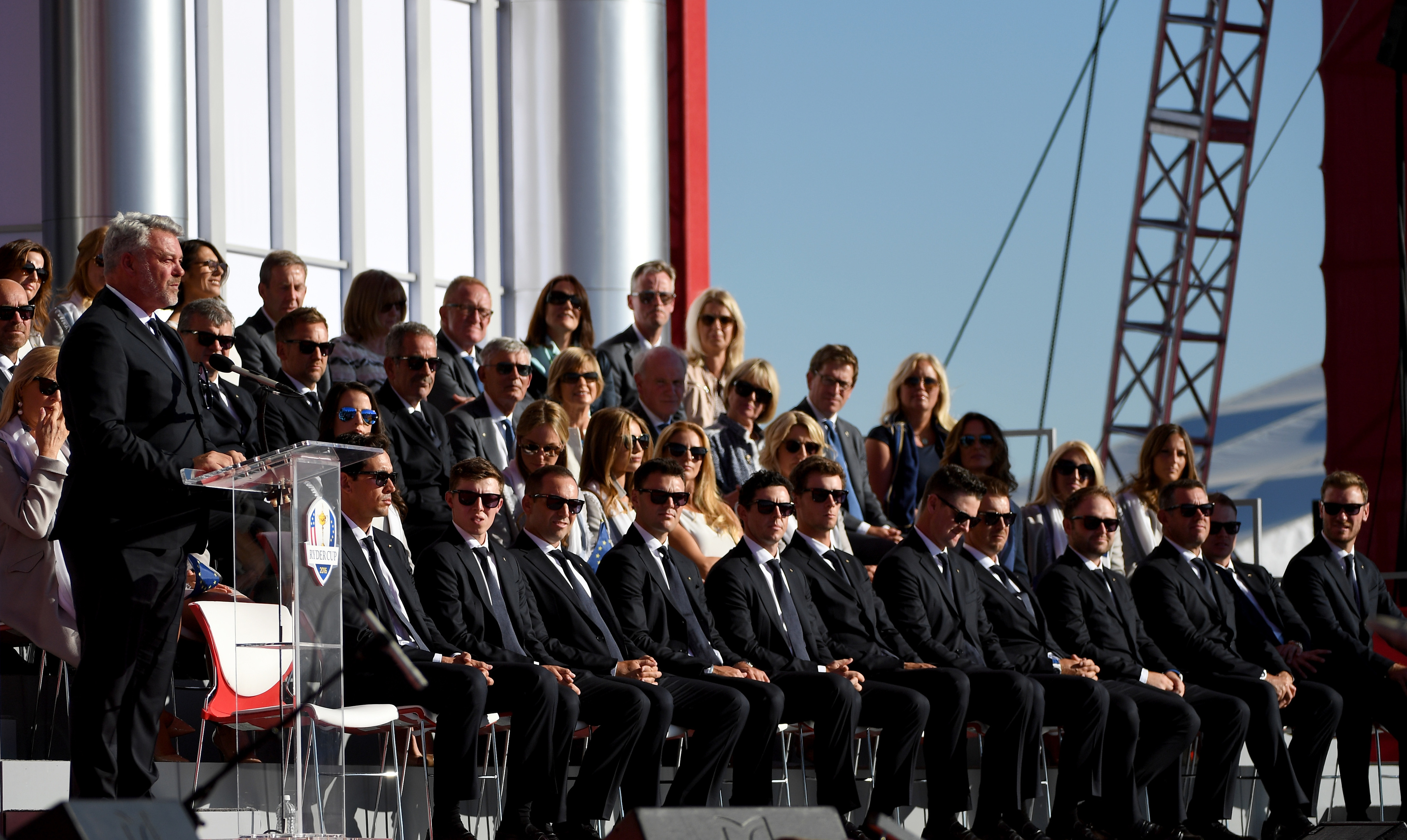 Team Europe line up at the Opening Ceremony for the 41st Ryder Cup.
