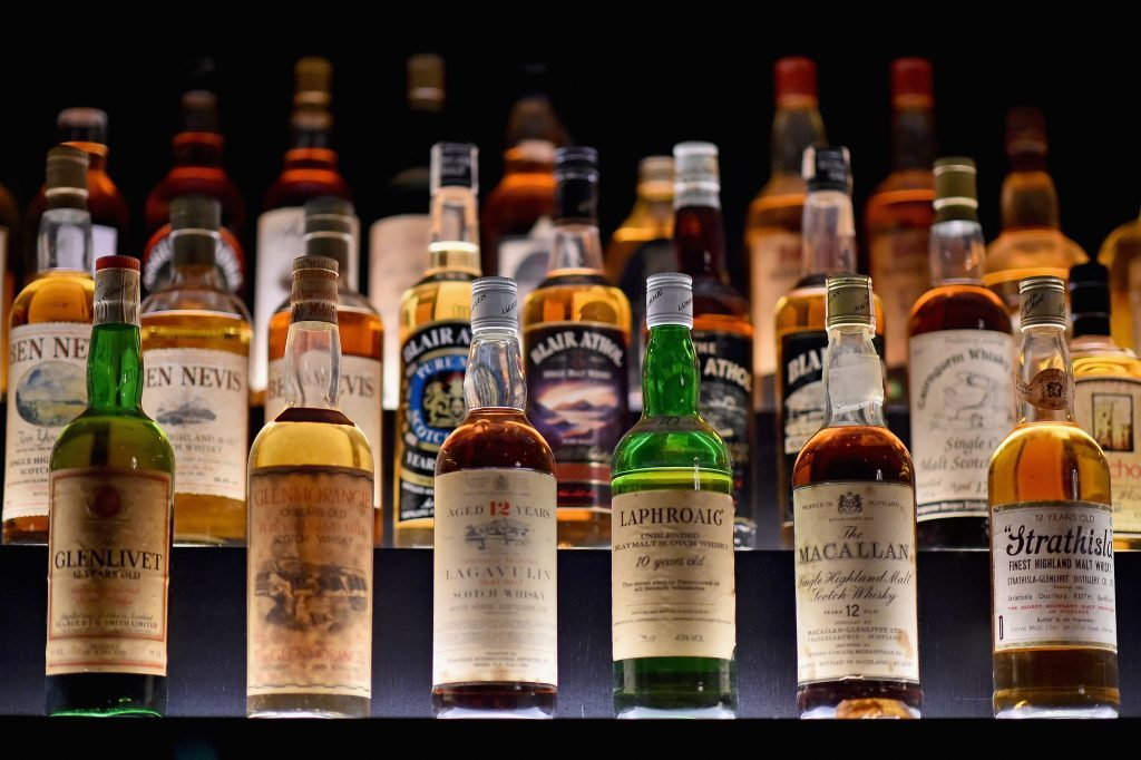 Bottles of whisky on display in the Diageo Claive Vidiz Collection, the world's largest collection of Scottish Whisky on display at The Scotch Whisky Experience on September 3, 2015 in Edinburgh,