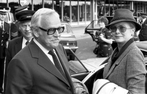 Prince Rainier III and Princess Grace at Edinburgh Airport in 1981 after flying in for the game in Dundee.
