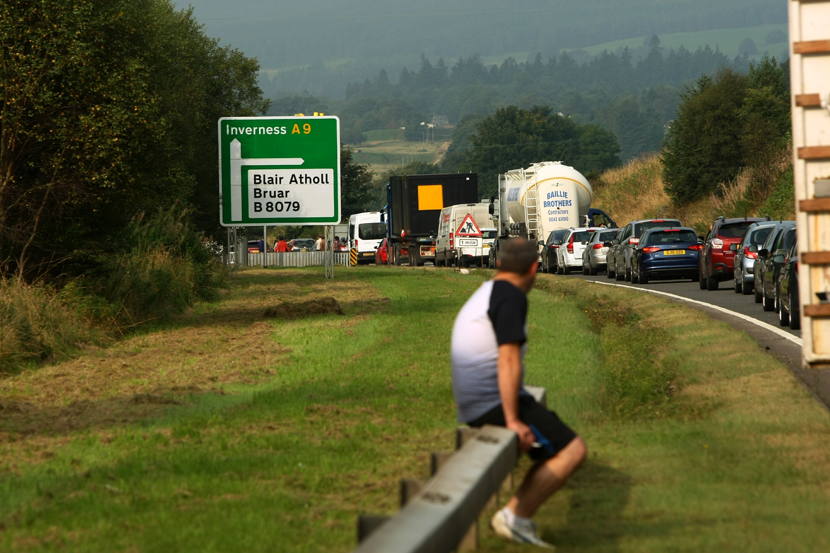 Drivers waiting to find out when the A9 will re-open following an accident near Blair Atholl.