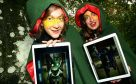 Emily Martinelli, left, and Lotte Kravitz from the 'Dragon Protection League' with the Dragon Matrix app at the launch of Dragon Matrix at Monikie Country Park