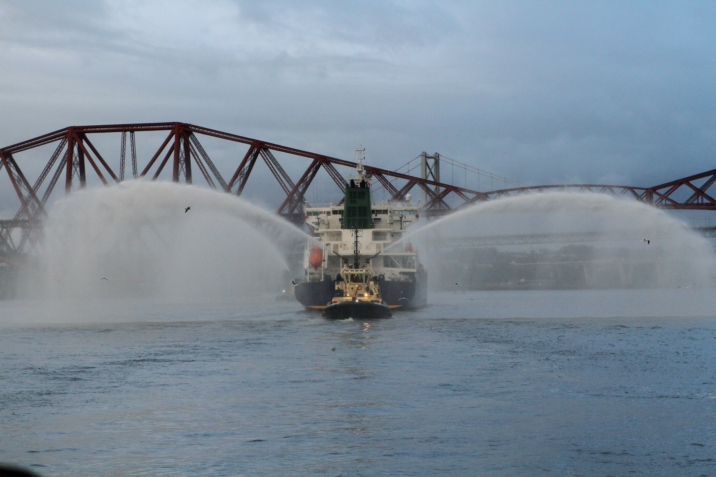 Water cannons mark the arrival of the INEOS Insight into Grangemouth