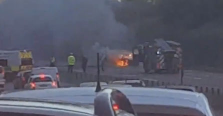 The car on fire on the A92 near Carnoustie.