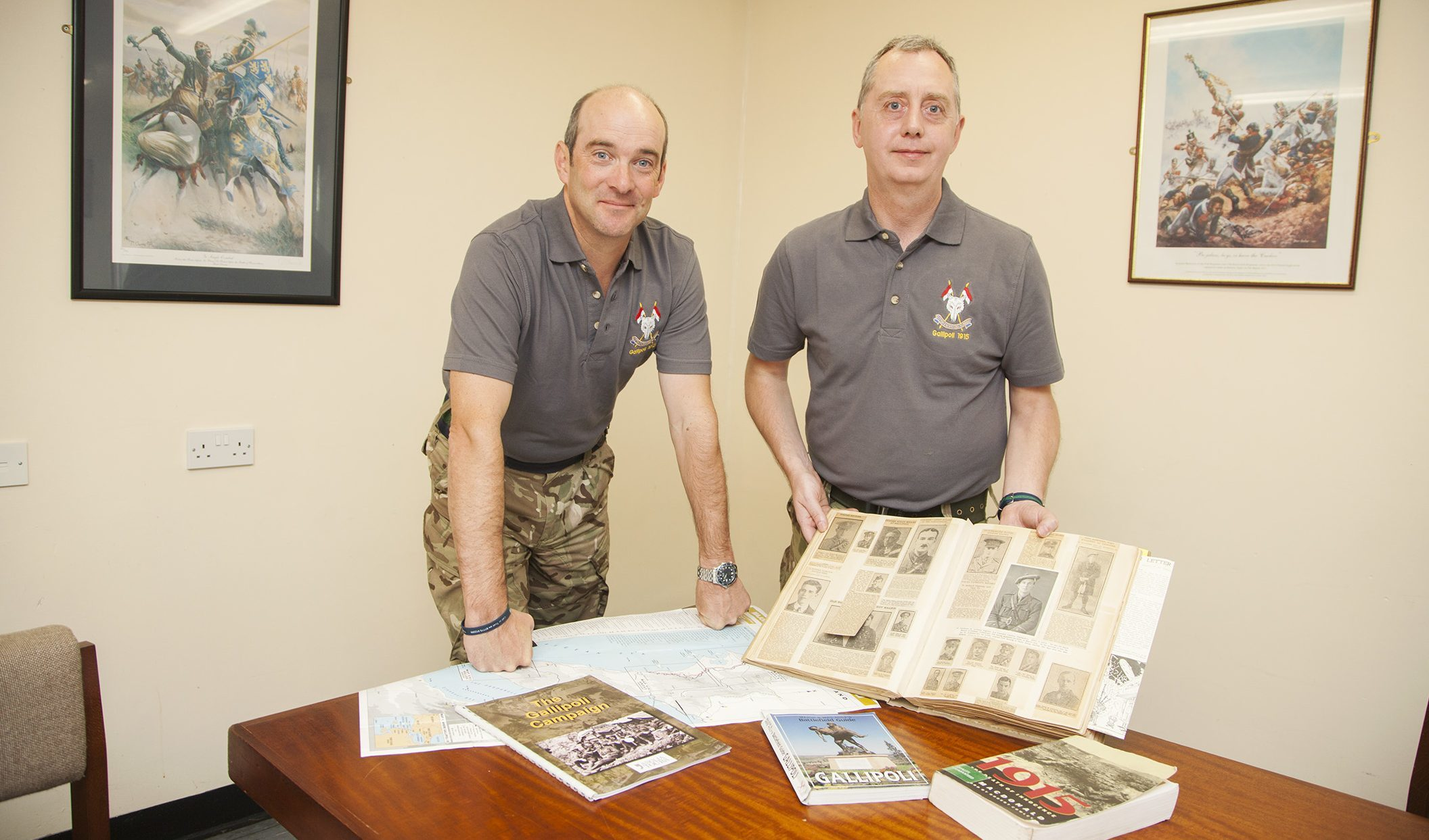 Picture shows Scottish and North Irish Yeomanry commanding officer Lt Col James Campbell Barnard (left) with Capatin Alex Nairn at Barry Buddon training camp and newspaper cuttings from the Dardanelles campaign