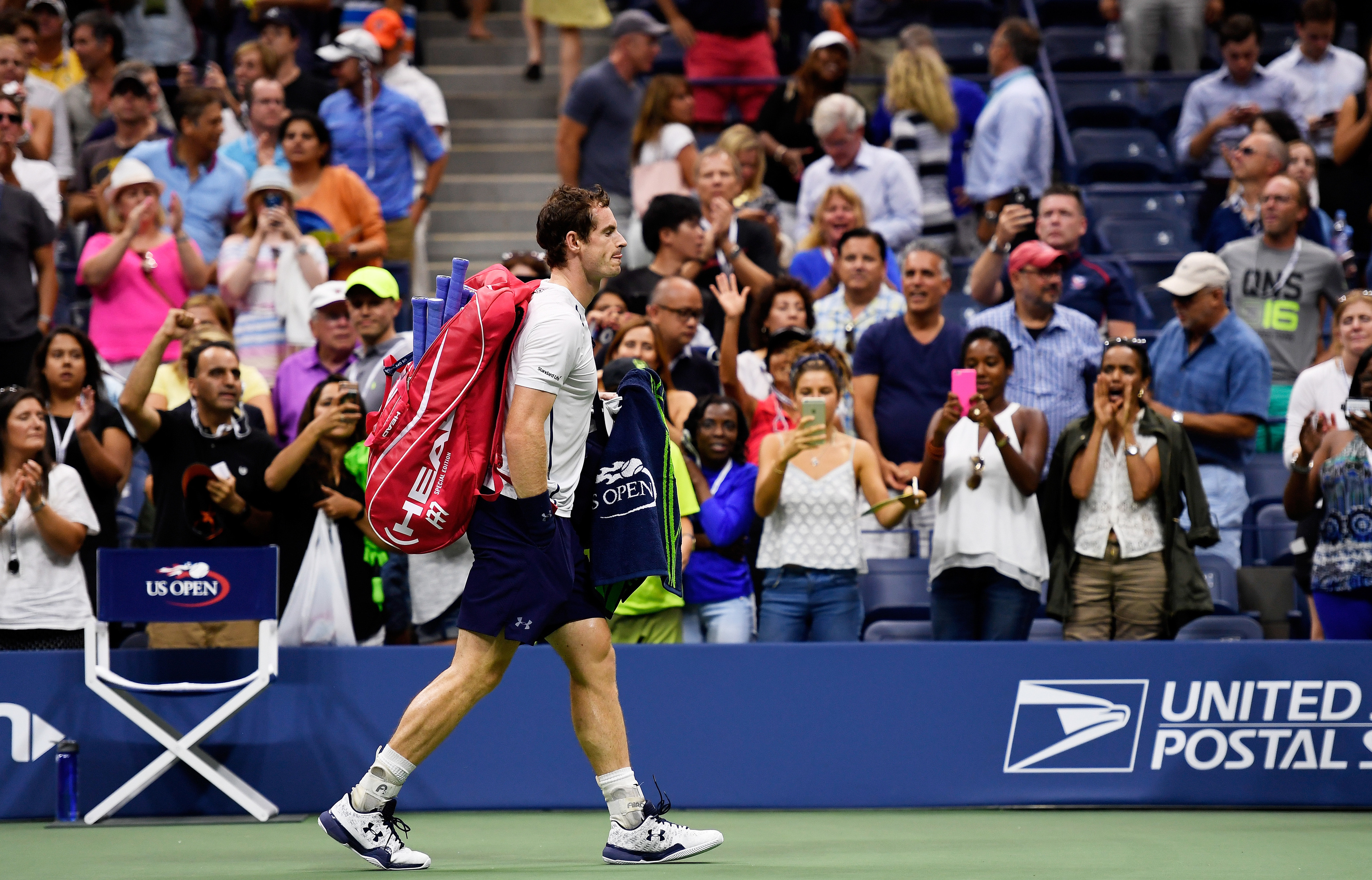 Next stop Glasgow.....A defeated Andy Murray departs the US Open.