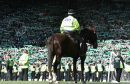 A mounted police officer looks on as Hibs fans celebrate during the Scottish Cup Final between Rangers and Hibernian at Hampden Park on May 21, 2016 in Glasgow.