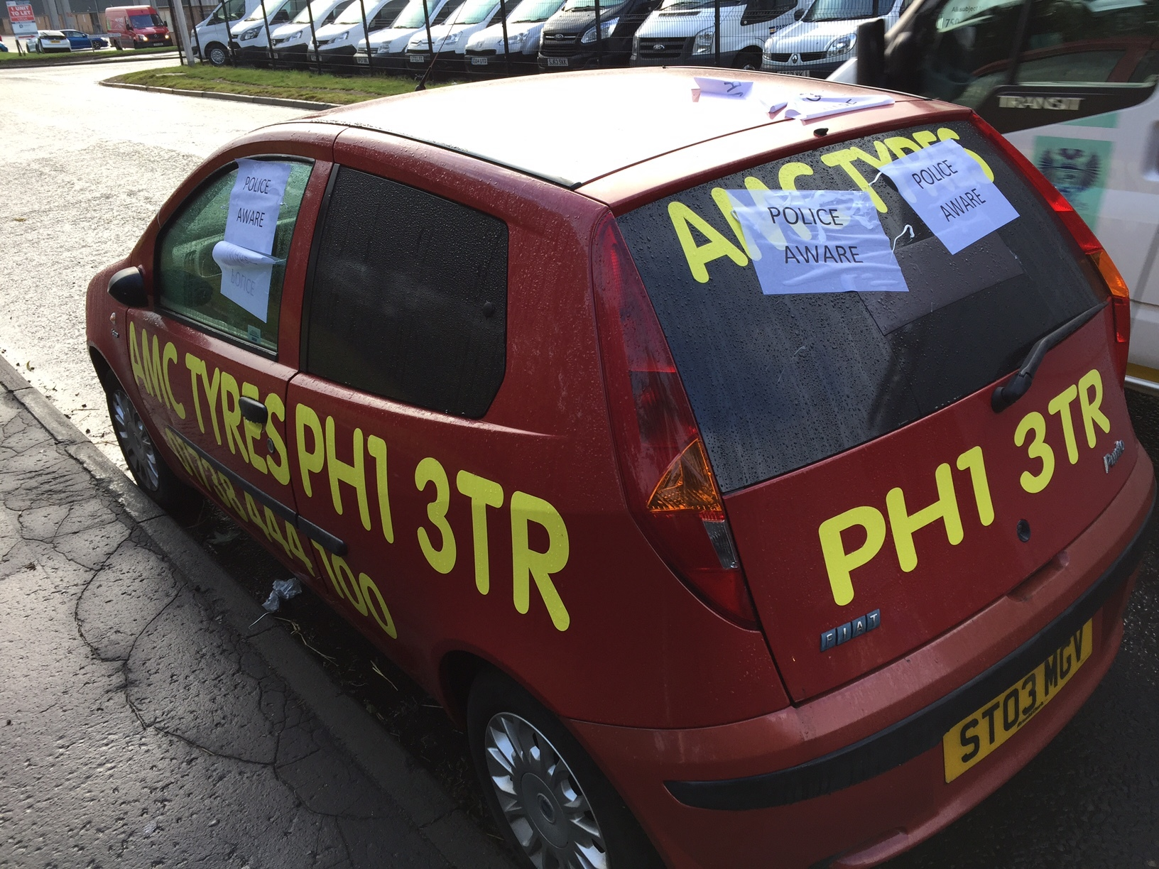 The Fiat Punto has been vandalised several times.