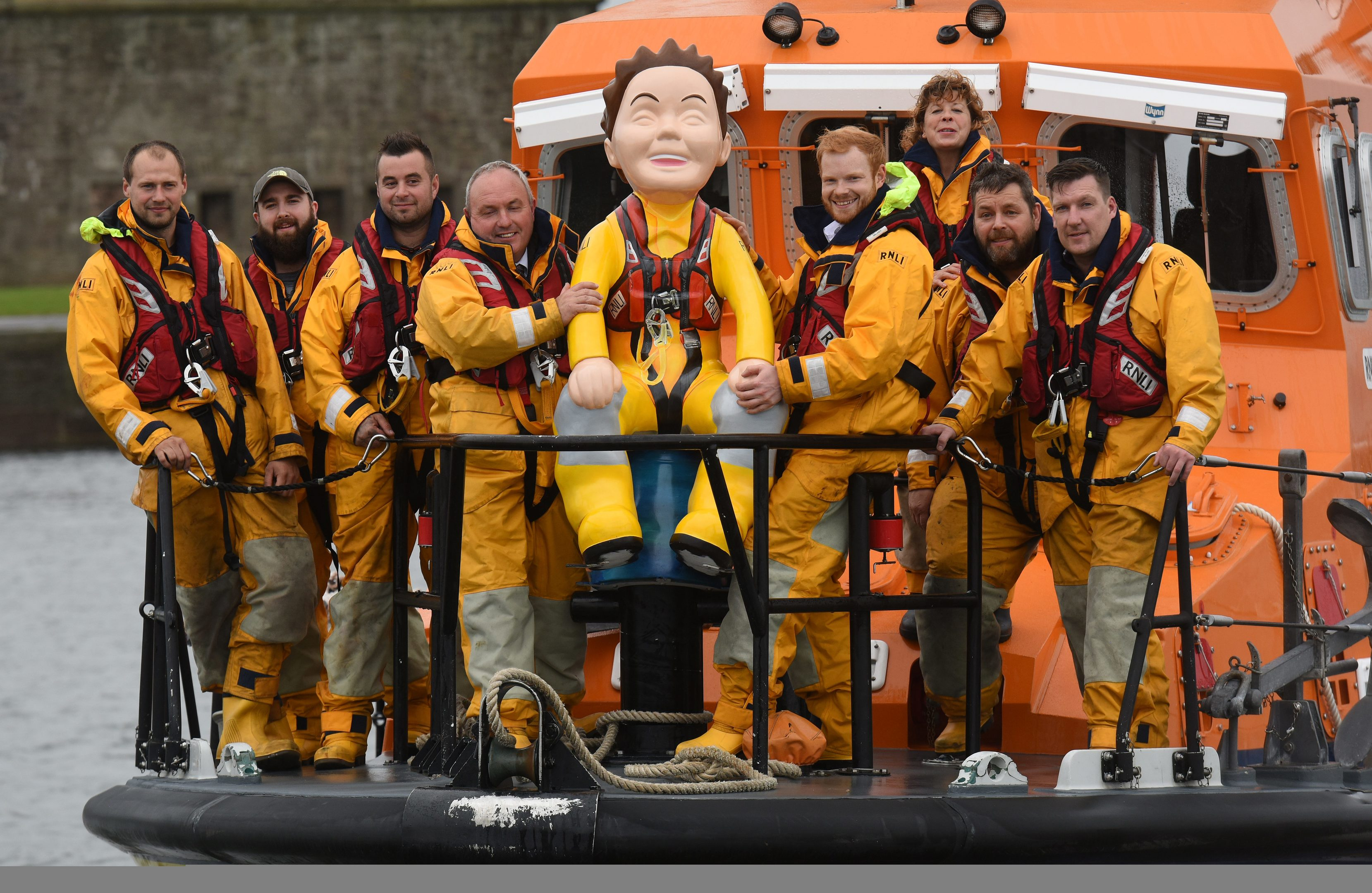 Members of the Broughty Ferry RNLI with Oor Lifesaver during the community's fundraising drive.
