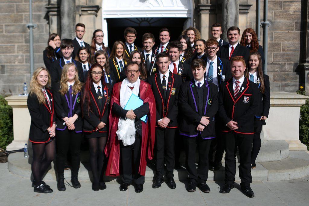 Mario Aguilar with representatives of Fife schools.