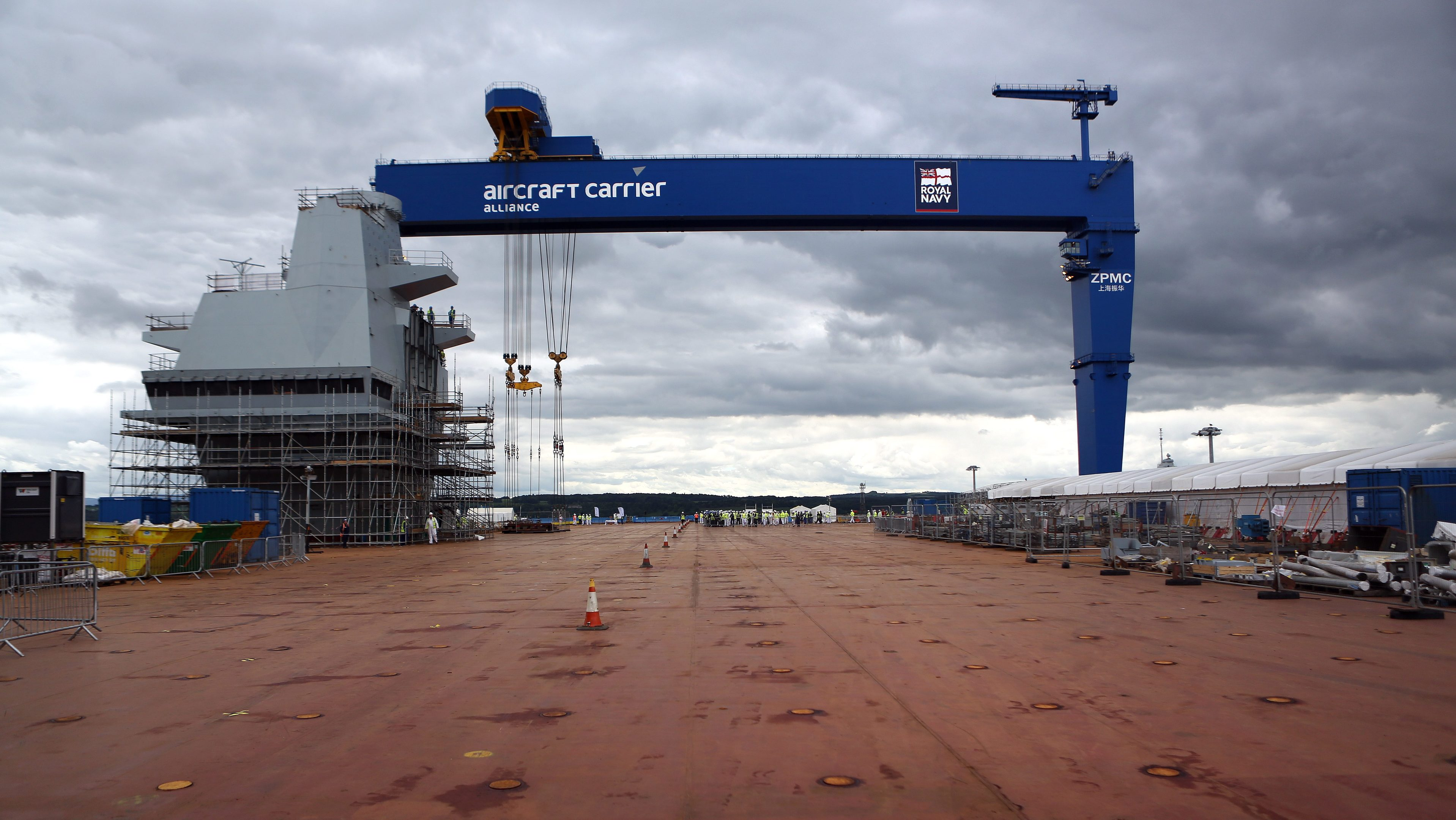 The deck of the aircraft carrier at Rosyth Dockyard.