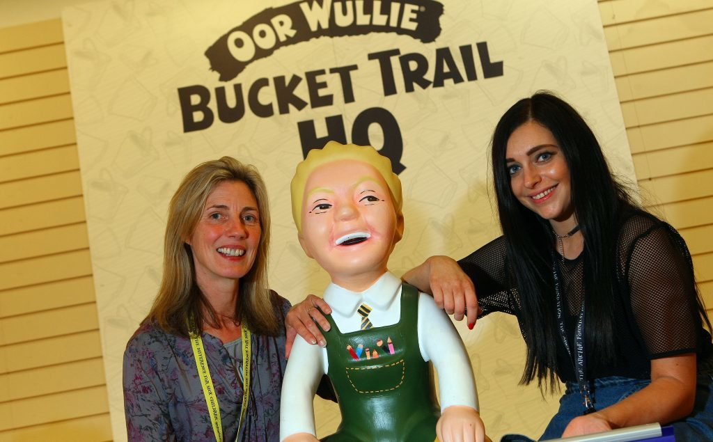 Volunteer Linda Meiklejohn and fundraising manager Hannah Clark at the Oor Wullie shop.