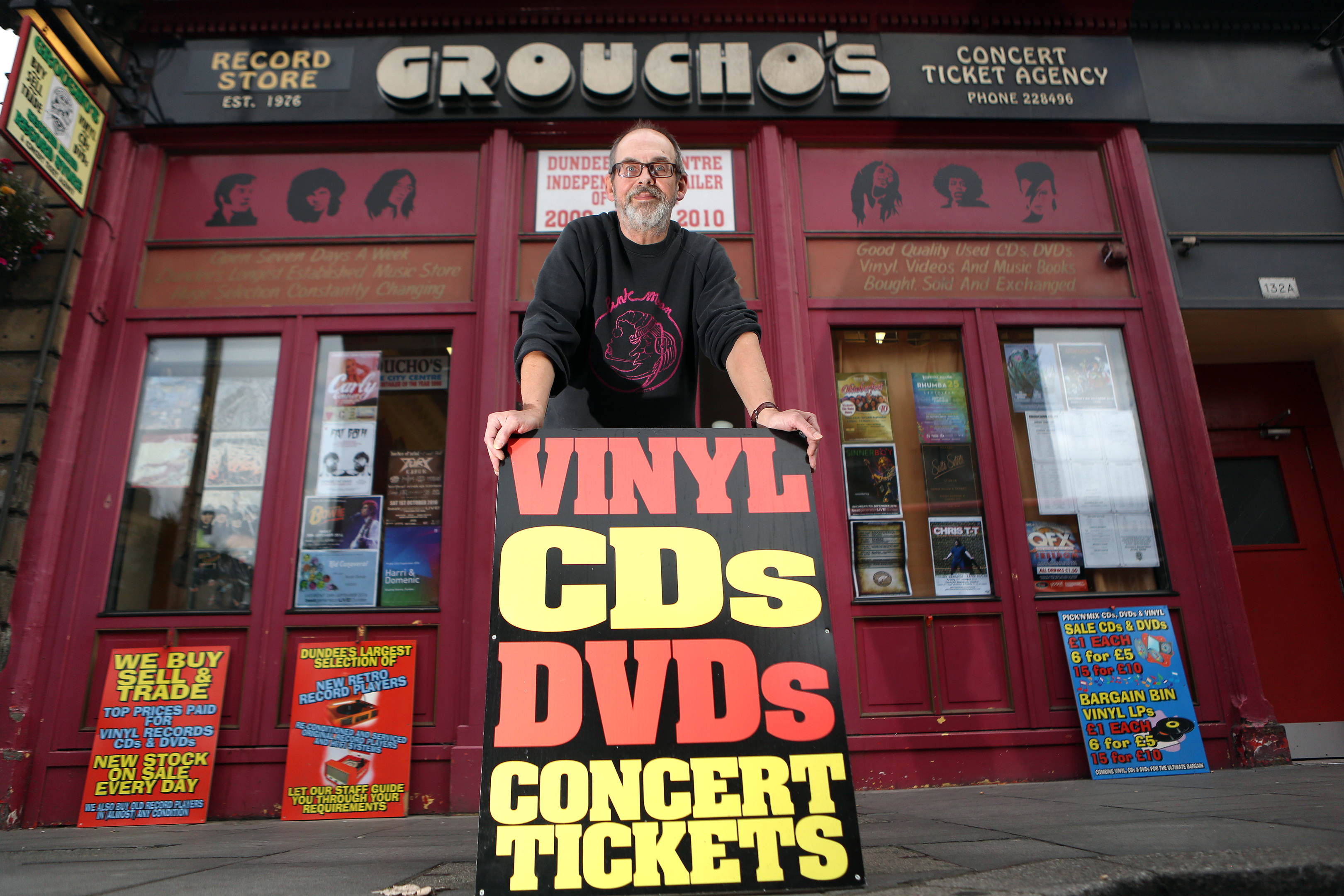 Alastair 'Breeks' Brodie of Groucho's record store in Dundee