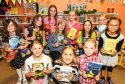 Lari with children at Dunfermline Library.