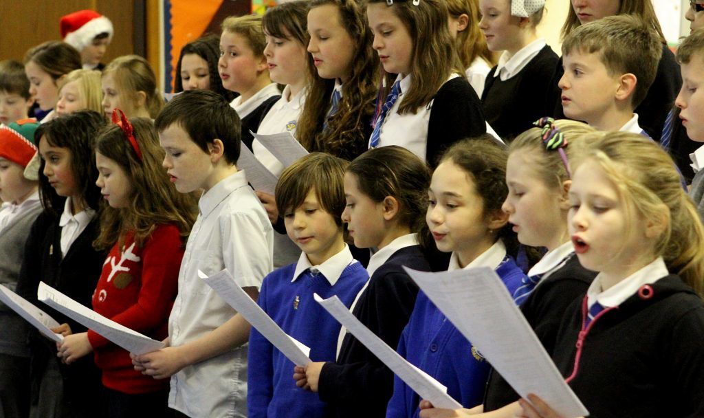 Pictured at Muirfield Primary School in Arbroath in December 2013, are some of the pupils taking part in the school's Christmas assembly.