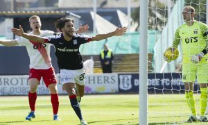 Faissal El Bakhtaoui celebrates opening the scoring.