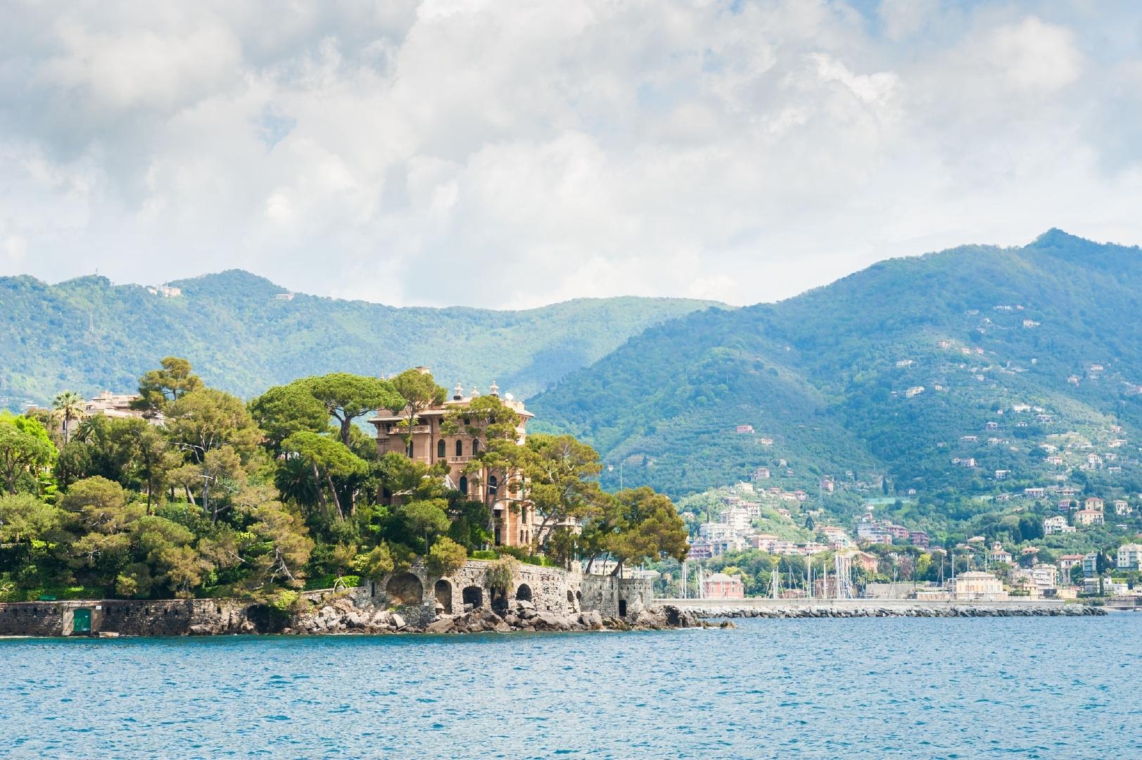 The beautiful view of the sea coast and mountains in Rapallo, Ligurian coast, Italy.