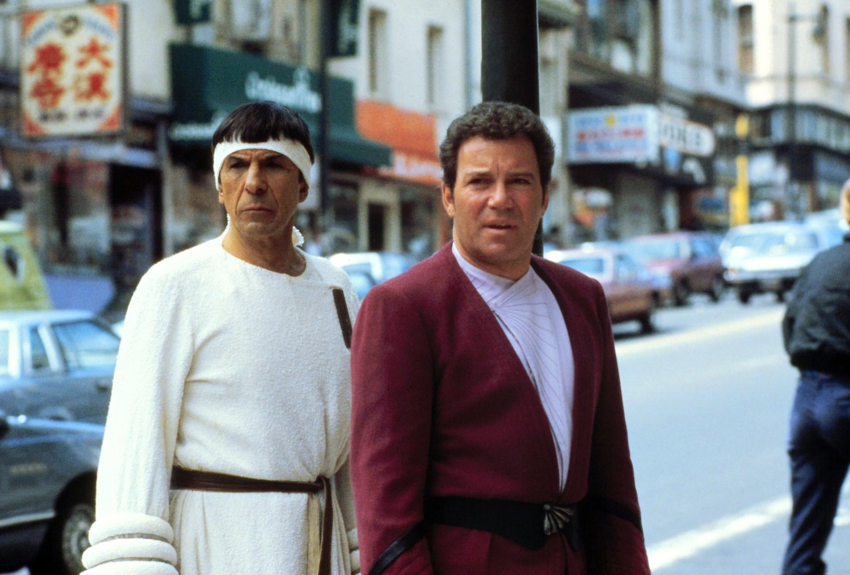 Leonard Nimoy and William Shatner as iconic duo Spock and Kirk in Star Trek IV: The Voyage Home.