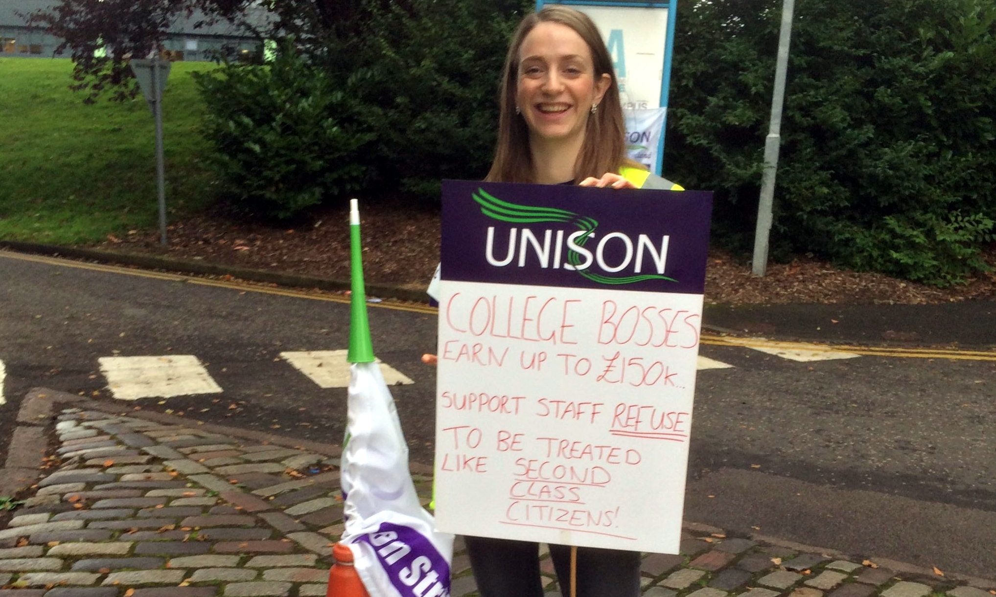 A striking college worker outside Dundee & Angus College.