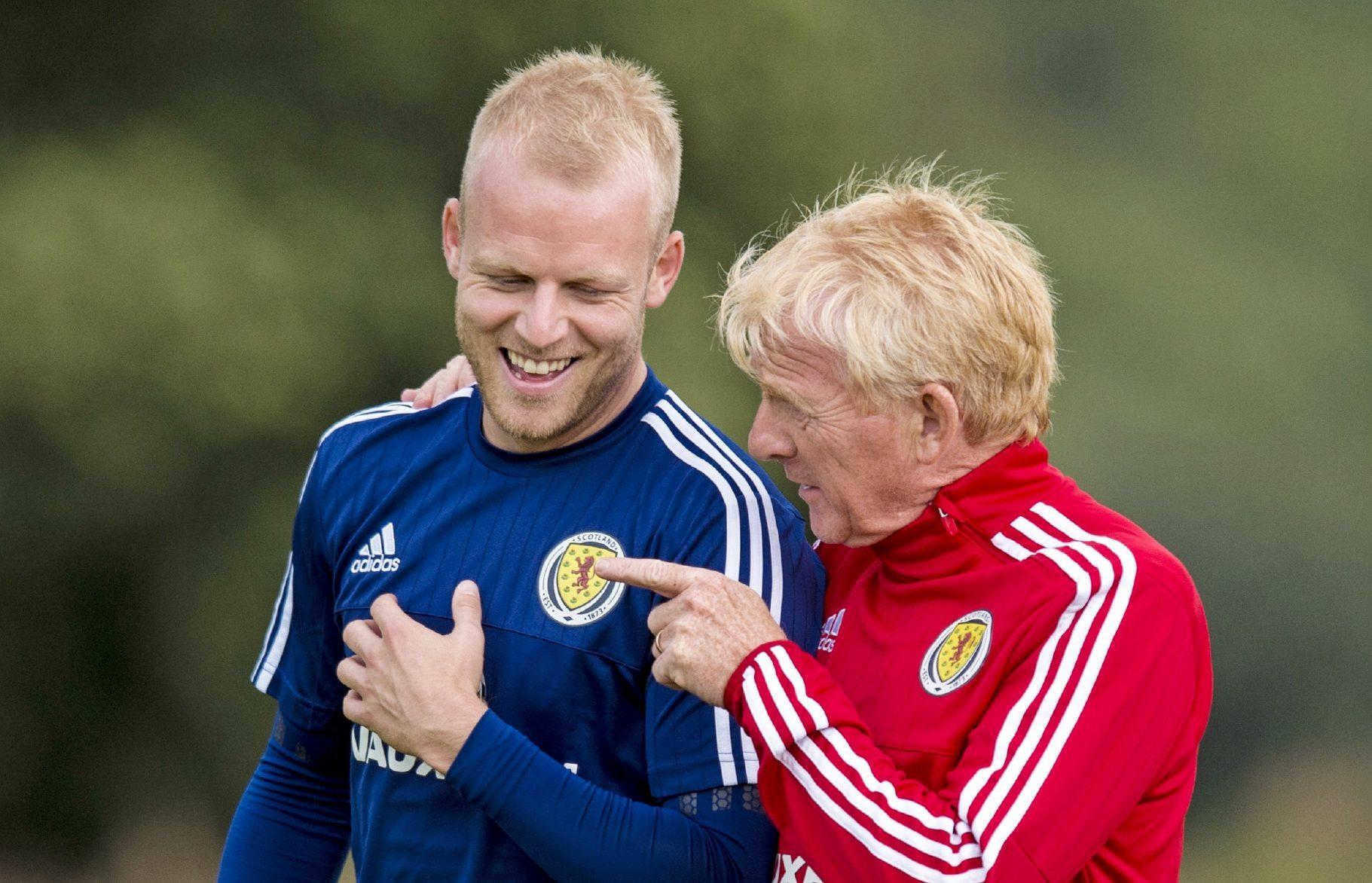 Steven Naismith with Scotland boss Gordon Strachan.