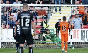 10/09/16 LADBROKES CHAMPIONSHIP     DUNFERMLINE v DUNDEE UNITED     EAST END PARK - DUNFERMLINE     Dundee United goalkeeper Cammy Bell saves his third penalty of the match