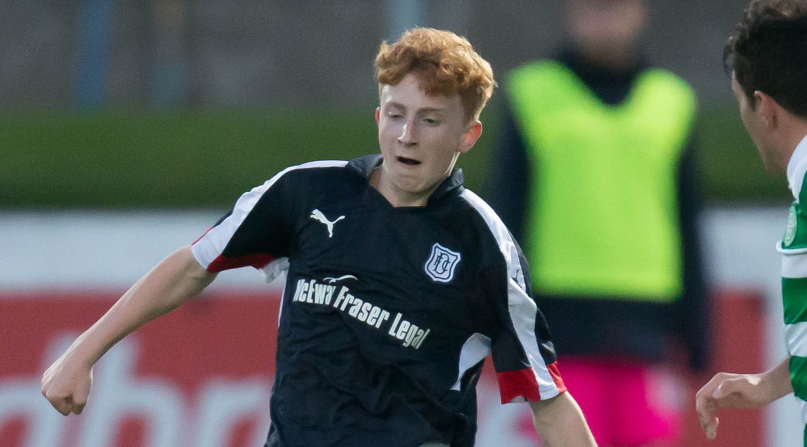 14 year old George Johnston in action for Dundee under-20s v Celtic.