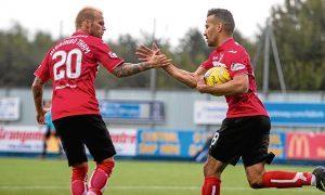 Farid El Alagui celebrates with Karl Higginbotham after scoring for Dunfermline.