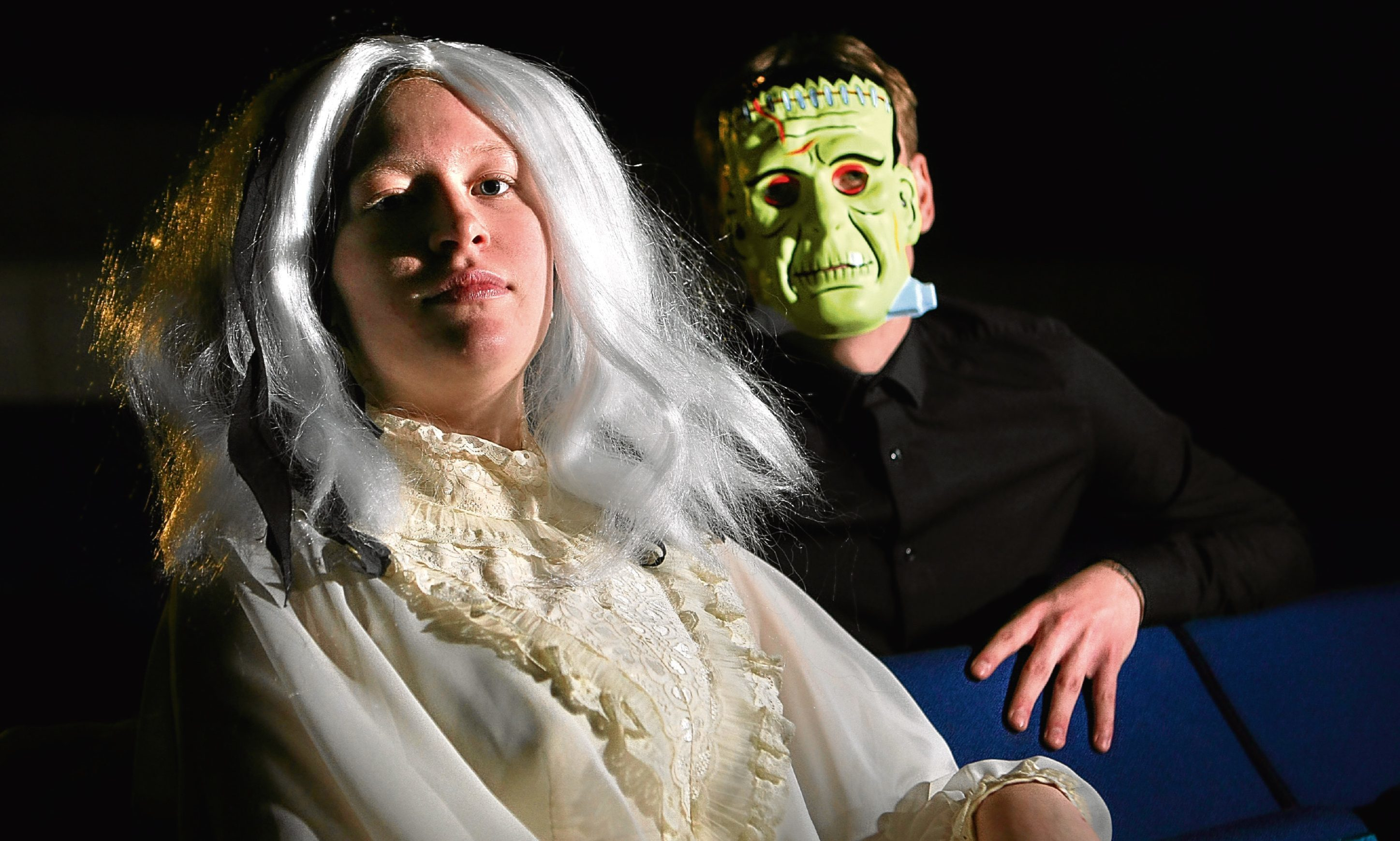 Andrew Manzi and Amelia Newton as Frankenstein and the bride of Frankenstein.