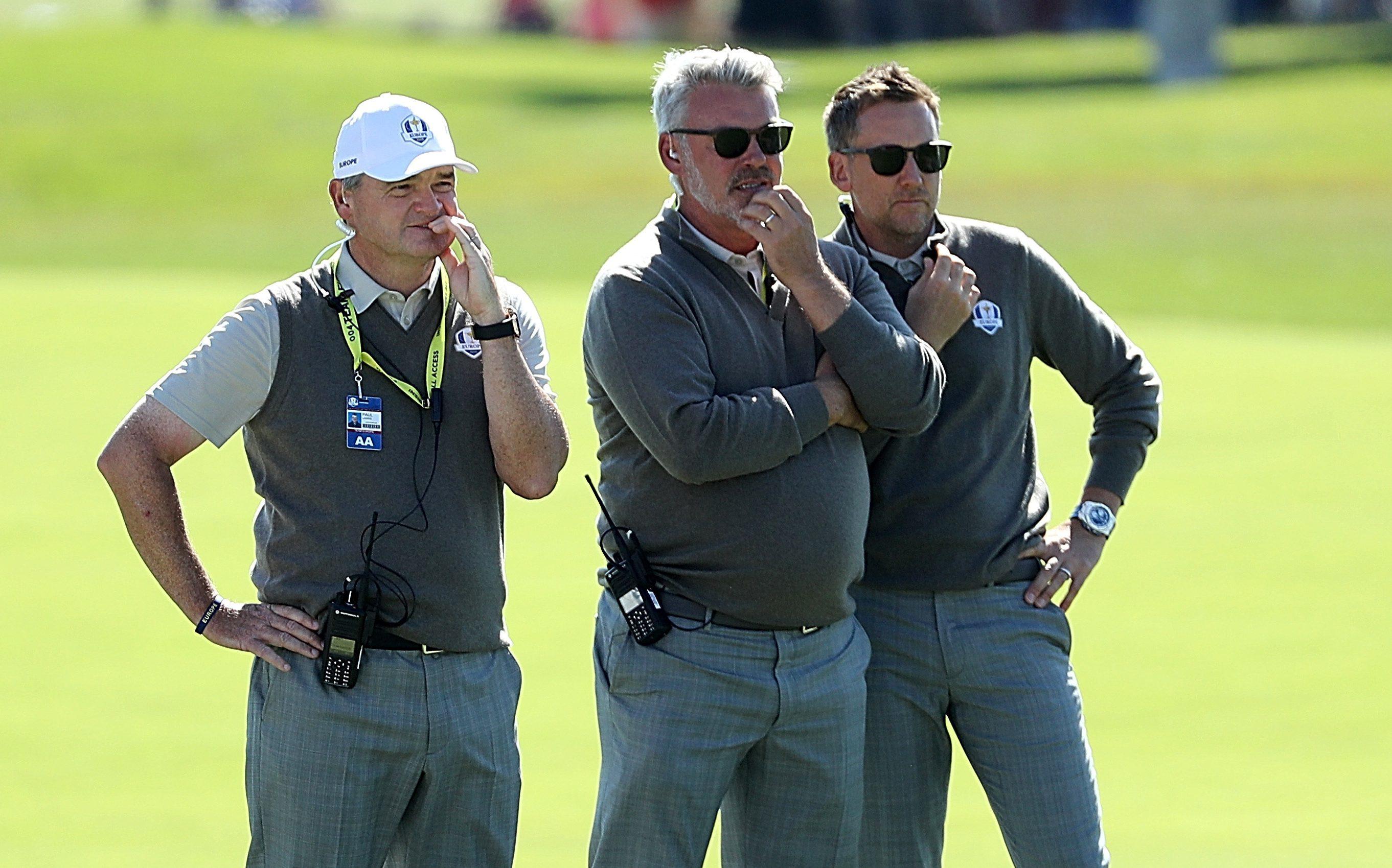 Darren Clarke (centre) with vice-captains Paul Lawrie and Ian Poulter at Hazeltine.