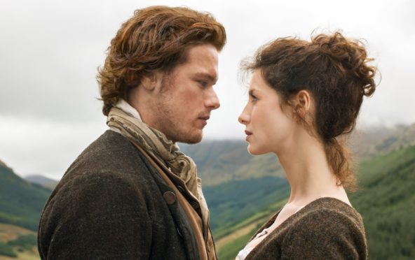 Sam and Catriona, the lead stars of Outlander
