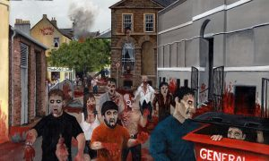 Zombies on the rampage in Arbroath's Market Square is one of Liam's paintings.