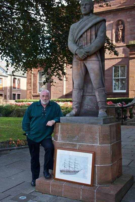 David Ramsay at the Burns statue outside Arbroath library
