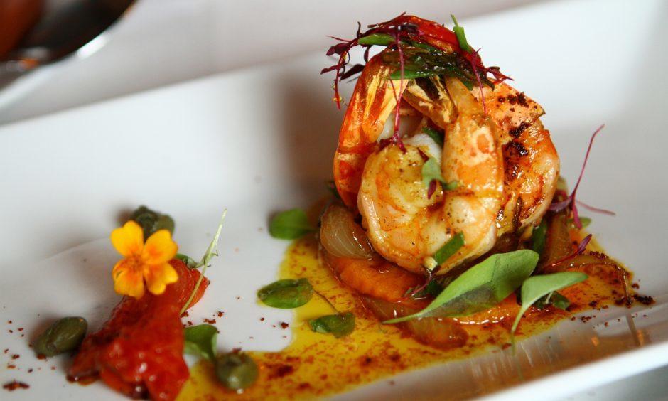 Part of the tapas, the prawns in garlic and chilli, at the Maxibell Tapas Bar.