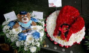 Floral tributes at the funeral of boxer Mike Towell at St Andrew's Cathedral, Dundee.