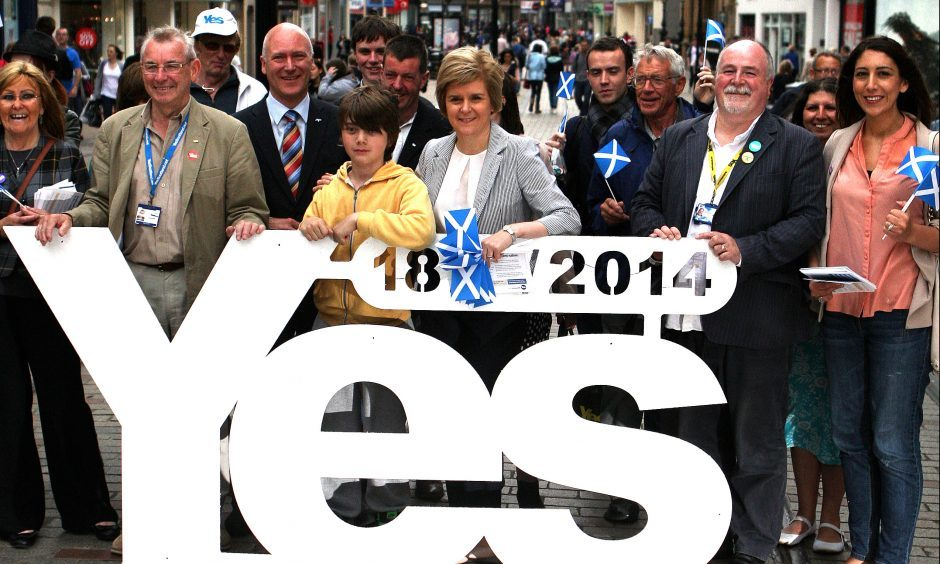 The then Deputy First Minister - now First Minister - Nicola Sturgeon (with Joe Fitzpatrick and others) who was on a walkabout in Dundee to engage with members of the public ahead of the 2014 Scottish independence Referendum